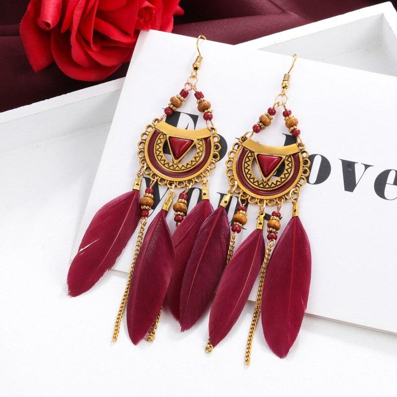 Bohemian Acrylic Feather Drop Earrings Boho Beads Long Tassel Earrings for Women White Feather Brincos Bijoux in Drop Earrings from Jewelry Accessories