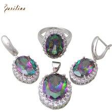 De las mujeres Del Arco Iris Mystic Circonita 925 Plata Sterling Colgantes/Anillo/Pendientes de La Joyería tamaño 6 7 8 9 S277