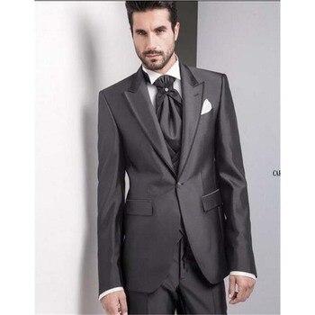 Custom Made Fraques Shinny cinza de Alta Qualidade Terno Blazer Para Os Homens Feitos Sob Medida Smoking Dos Homens Ternos de Casamento Da Cauda Longa 3 peças