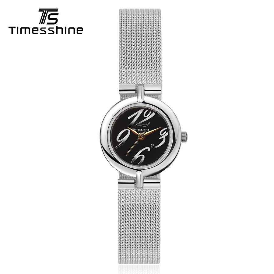 Timesshine Women Quartz Watch Hard Glas Stainless Steel Silver Numbers and Golden Analog 5ATM Waterproof bracelet women clock timesshine women watch quartz watch