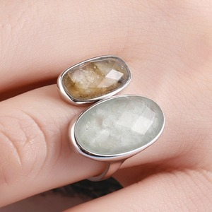 Image 2 - DORMITH  real 925 sterling silver gemstone ring natural amazonite labradorite stone rings for women jewelry rejustable size ring
