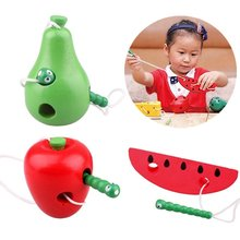 Wooden Education Toys Mouse Thread Baby Kindergarten 3D Fruit Plaything Montessori Teaching Aids Early Learning Math Toy(China)