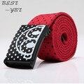 Cinturones para hombre nueva moda de calidad superior punteada mujeres de lona dulces hebilla de Metal de Color 2016 Chidren cinturones de Color rojo / negro 6