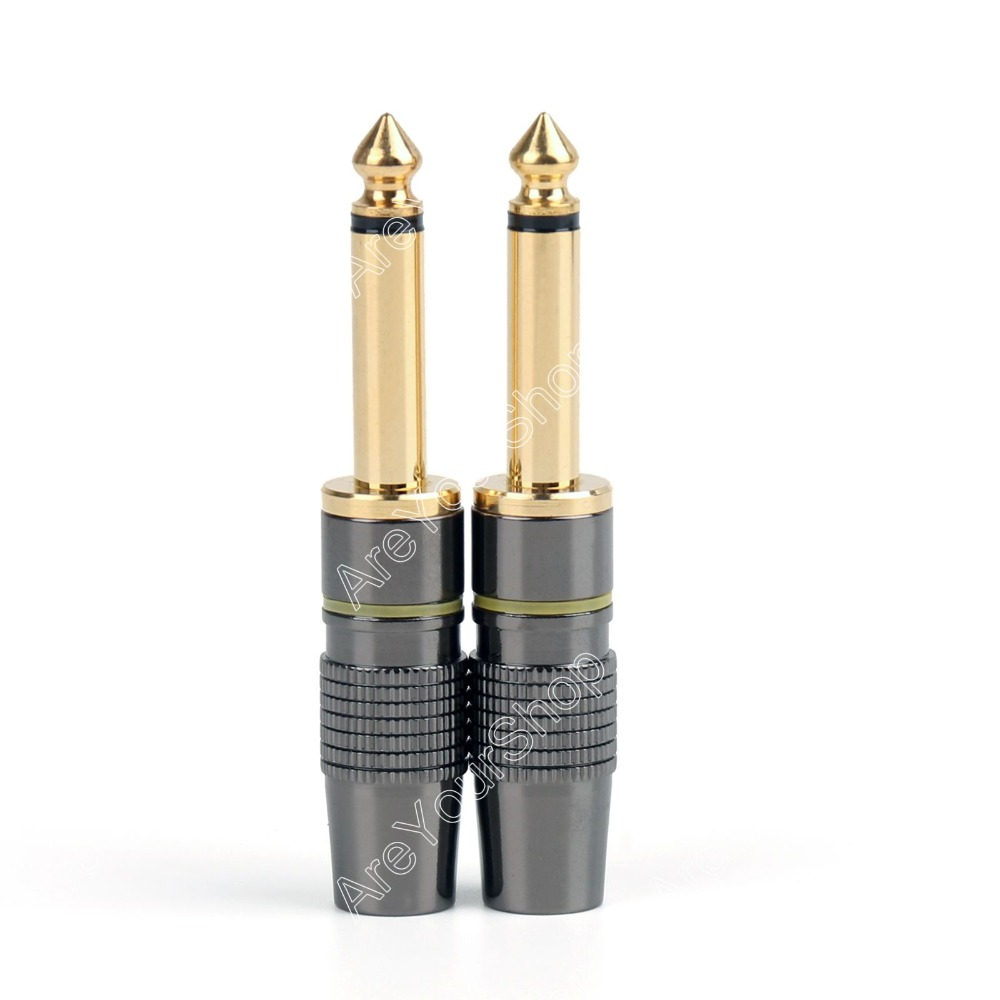 Areyourshop 2PCS Copper 6.3mm 1/4inch Mono Jack Plug Connector For Soldering High Quality areyourshop hot sale 50 pcs musical audio speaker cable wire 4mm gold plated banana plug connector
