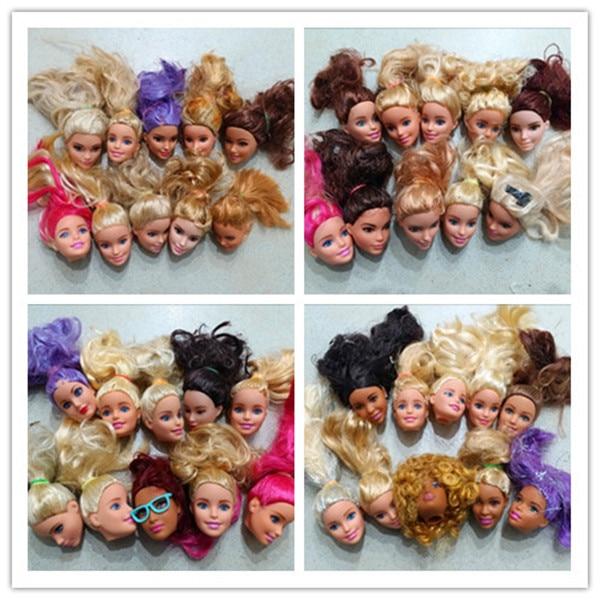 2017 10st / lot grossist original docka huvuden för barbie, docka tillbehör till barbie docka, DIY gåvor