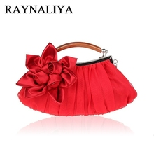 Elegant Candy Color Red Silk Evening Bag Women Satin Soft Rose Flower Hand Bags Wedding Bridal Small SFX-A0004