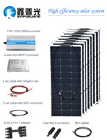 800w flexible solar panel solar system efficient cell module 2000w inverter 40A controller MC4 connector 12v battery
