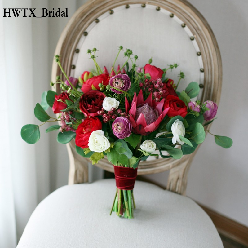 Protea Wedding Flowers: Red Country Mori Wedding Bridal Bouquets 2018 Artificial
