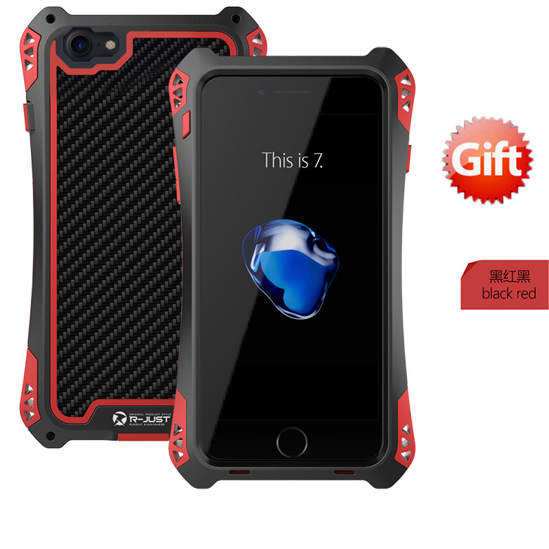 Brand R-JUST Case For iphone 7 Life Waterproof Shockproof Carbon Fiber Case+Gorilla Tempered Glass Cover For iphone 7 7plus