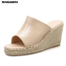 TINGHON Leisure PU Ladies Slipper Thick Hemp Rope Wedges 9CM High heels Slides Slippers Black Apricot Brown Round Toe Size 35-40 apricot contrast point toe pu heeled slippers
