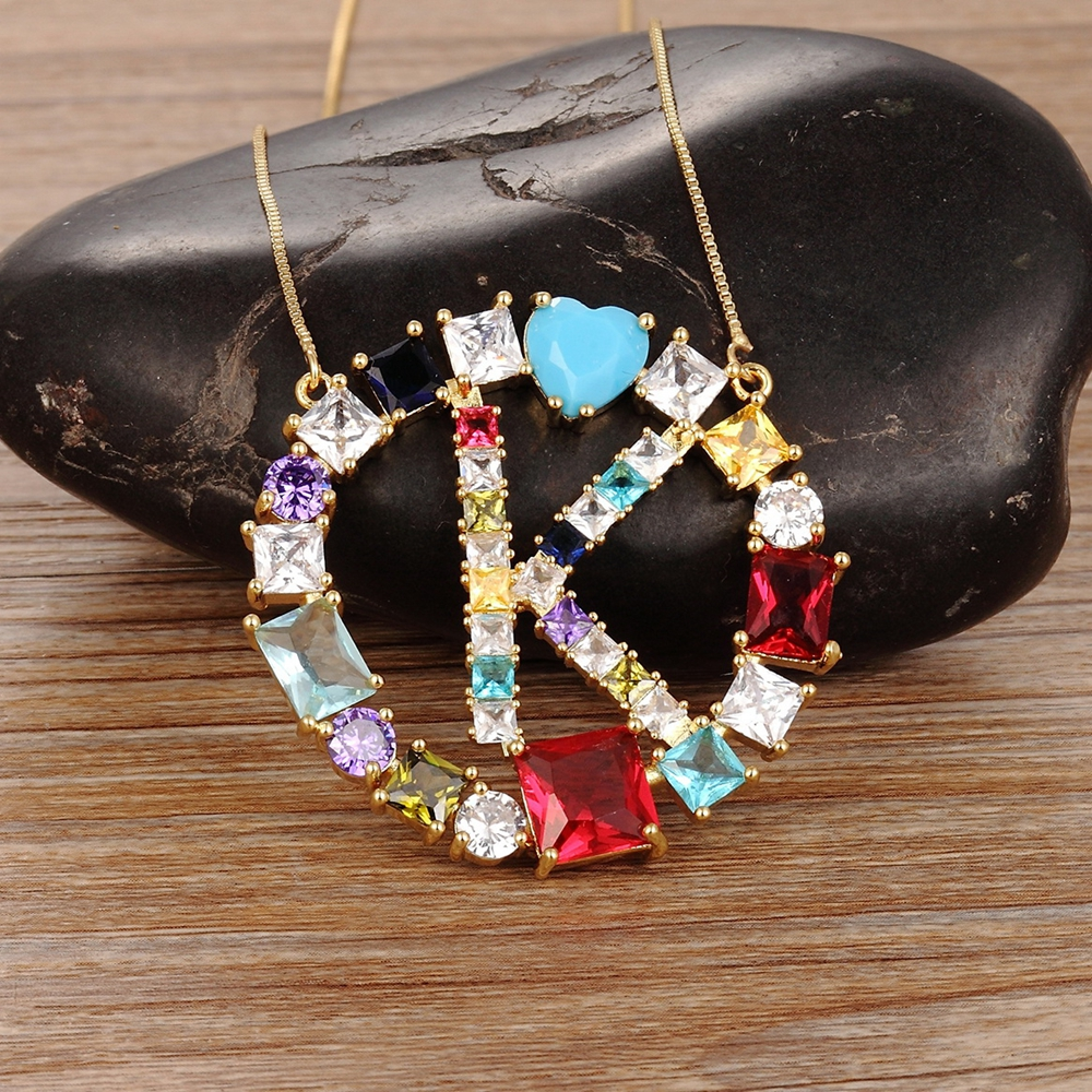 Fashion Colorful Stone Letter Necklace Jewelry Women Pendant Unique Design Gold Chain for Girl Decoration Perfect Gift