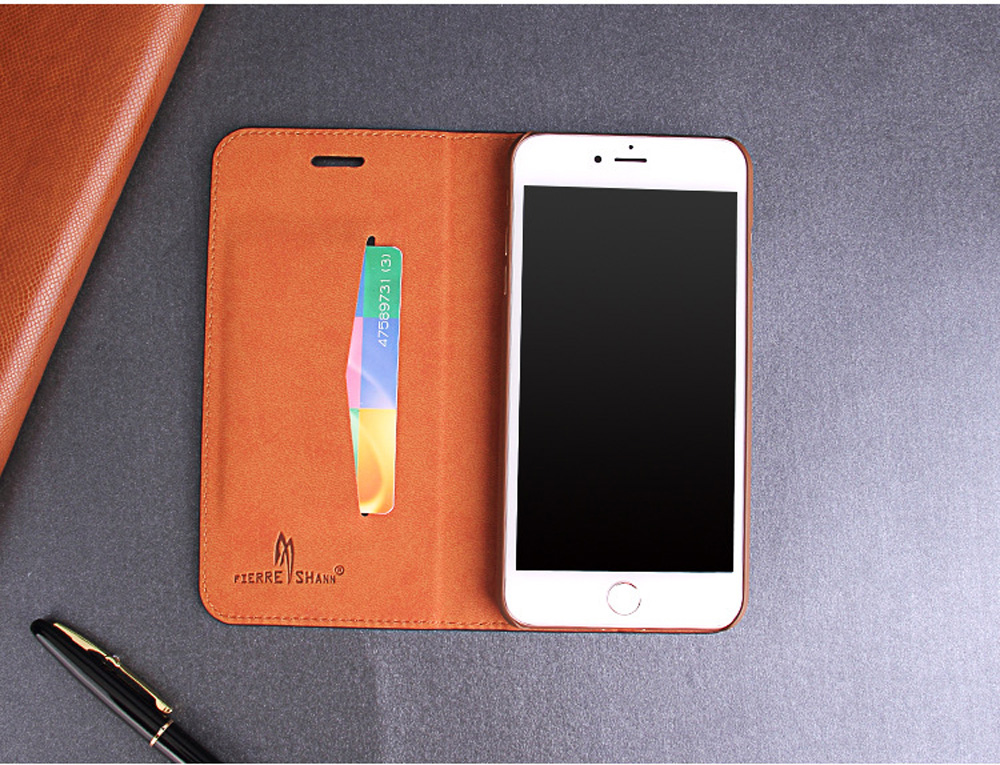 Luxury Cowhide Full cover case For iphone X 6 6s 7 8 First layer cowhide Copper money card holder For iphone 6 7 8 plus bag case (3)