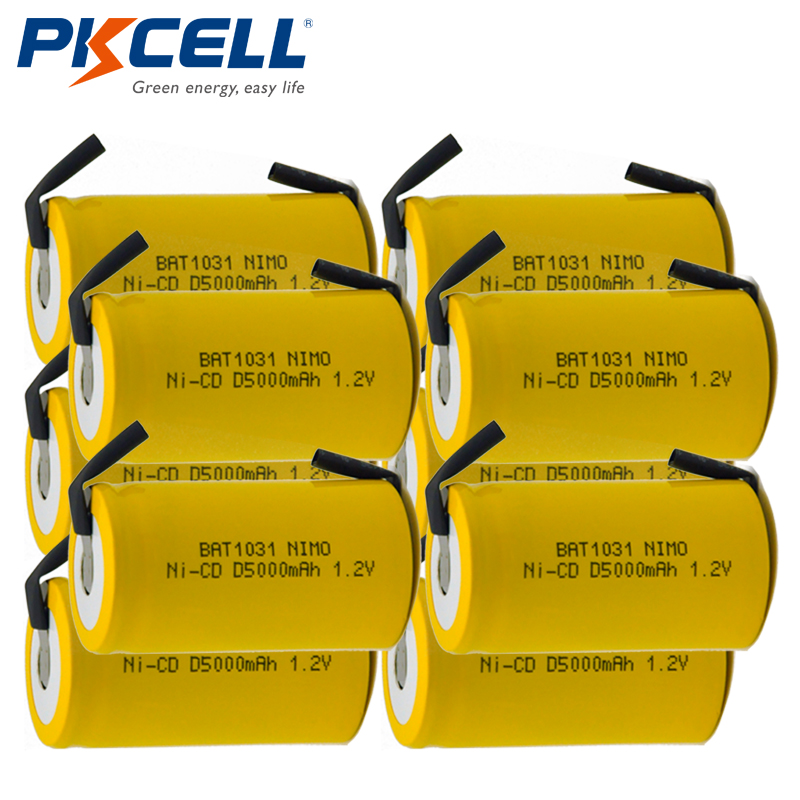10x PKCELL D Size 1.2V 5000mAh NiCD Rechargeable Batteries with Tabs Fast Shipping10x PKCELL D Size 1.2V 5000mAh NiCD Rechargeable Batteries with Tabs Fast Shipping