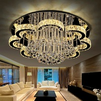 IWHD K9 Crystal LED Ceiling Light Fixtures Stainless Steel Modern Ceiling Lamp Bedroom Living Room Luminarias