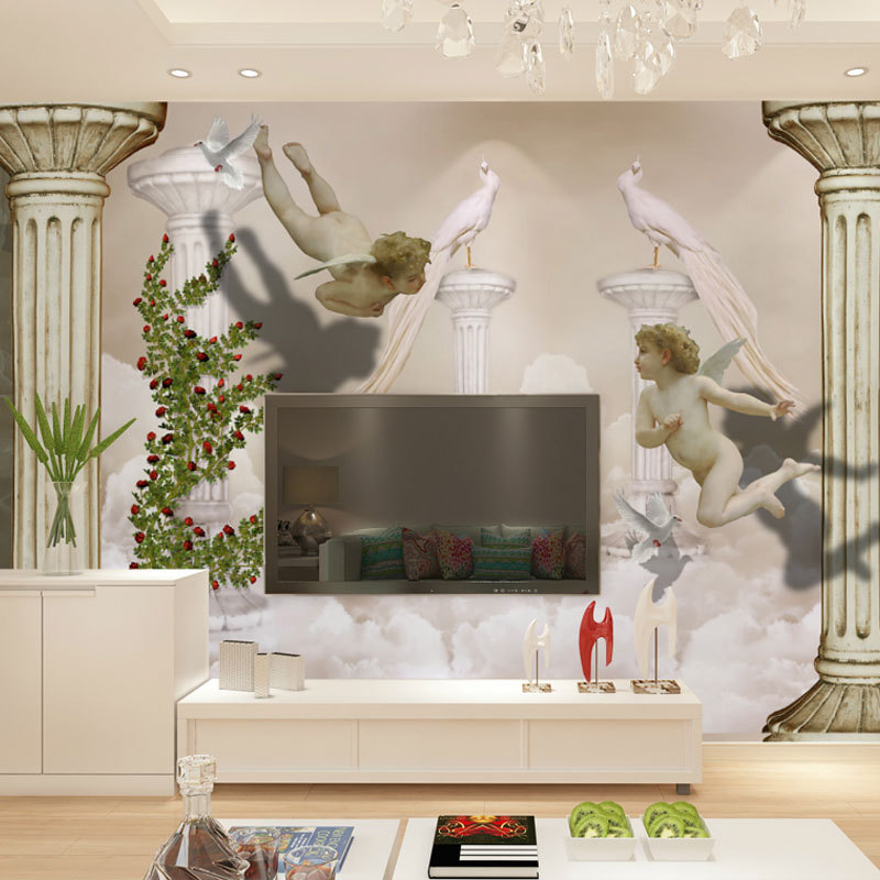Free shipping 3d stereo continental living room tv for Angel wall mural