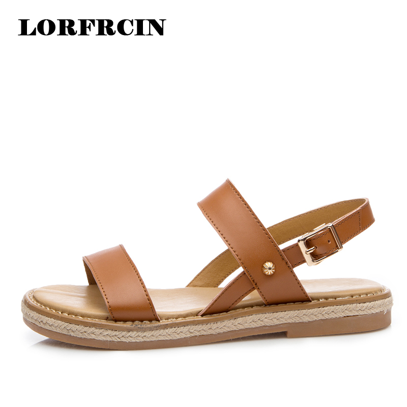 LORFRCIN 2017 New Gladiator Sandals Women Split Leather Summer Shoes Woman Beach Buckle Flats Casual Solid Platform Women Shoes gladiator sandals 2017 summer style comfort flats casual creepers platform pu shoes woman casual beach black sandals plus us 8