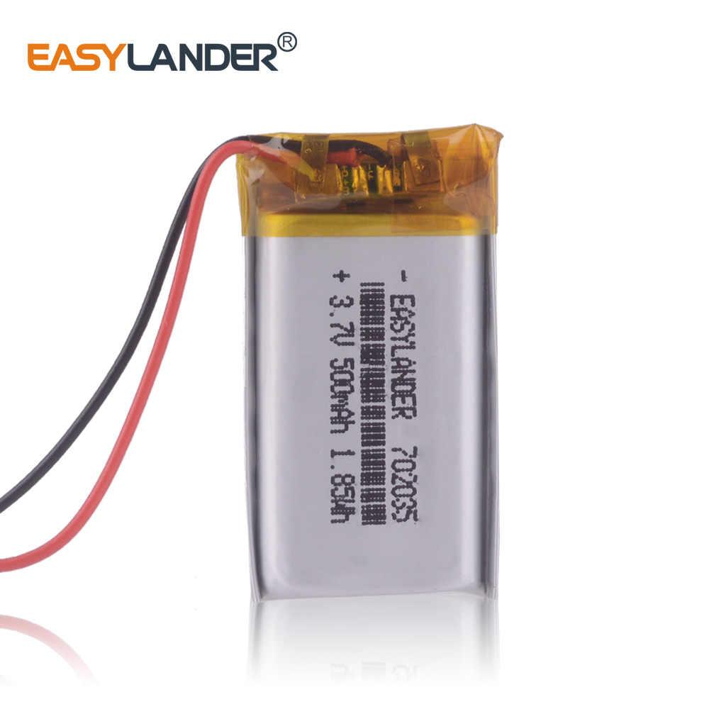10 шт./лот 702035 3,7 в 500 мАч перезаряжаемый литий-полимерный аккумулятор для bluetooth-гарнитуры mp3 mp4 Динамик DVR texet gps часы 072035