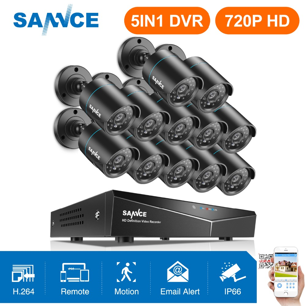 SANNCE 16CH 1080N Home Surveillance System 5IN1 DVR HDMI With 12pcs 720P Outdoor Weatherproof TVI Camera Home Security CCTV KitSANNCE 16CH 1080N Home Surveillance System 5IN1 DVR HDMI With 12pcs 720P Outdoor Weatherproof TVI Camera Home Security CCTV Kit