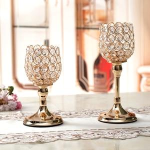 Image 4 - Pilar de vidro tealight castiçais de cristal castiçais mesa stands decoração casamento para casa presente de aquecimento