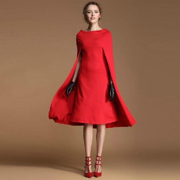 2017 Autumn Winter Women Fashion Dress Europe S Vintage Cloak Red Slash Neckline Cape Evening
