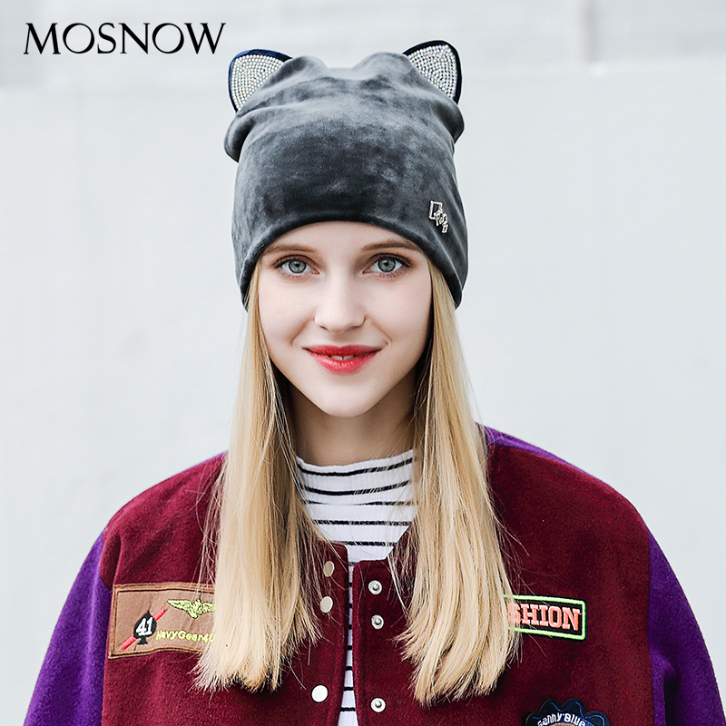 Cute Cat Ear   Beanie   For Women 2018 Fashion Brand Flannel Hat High Quality Warm Cap Winter   Skullies     Beanies   Bonnet Femme #MZ819