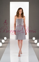 2014 Newest Sweetheart A-Line Knee-Length Gray Worsted Ruched Bridesmaid Dresses Vestido Pra Madrinha Cheap Party Gowns Vestidos