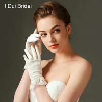 Short Satin Wedding Bridal Gloves Elegant Lace Edge with Bow Ivory High Quality New Style