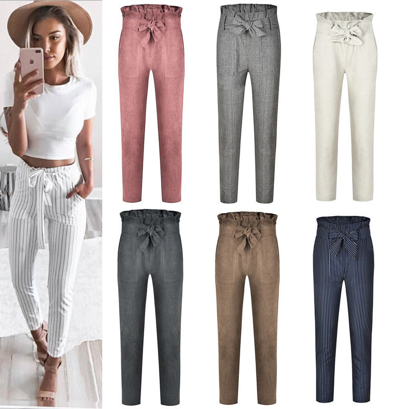 2019 Women Sexy arrival Striped Slim Skinny Casual High Waist Pencil Long Pants Trousers Flat Drawstring Bodycon Solid Pants 17