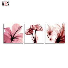 WEEN Abstract Art Pink Flower Canvas Painting Stretched And Framed Ready For Hanging For Home Living Room Decoration 30x 30cm(China)
