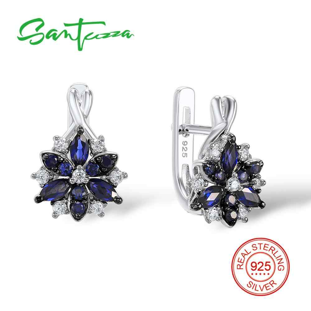 1beb306ce Santuzza Silver Stud Earrings for Women Blue Stone White Cubic Zirconia  Ladies Pure 925 Sterling Silver