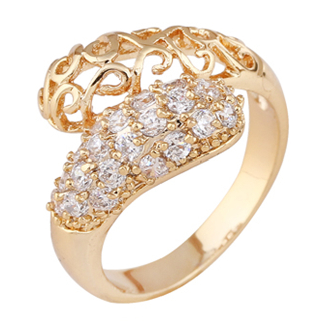 Female Romantic Yellow Gold Filled Wedding Band Ring Hollow Cloud Flower Cluster Rings Size6 7