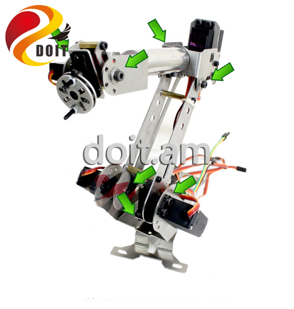 Original DOIT 6 DOF Metal Mechanical Arm Kit Stainless Steel Manipulator Clamp Claw Machinery Structure Full Set DIY Robot Arm intelligent force and position control of 6 dof robot manipulator