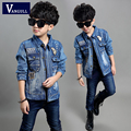 2016 new winter hot boy children denim jacket embroidered logo jacket worn cotton washing hole