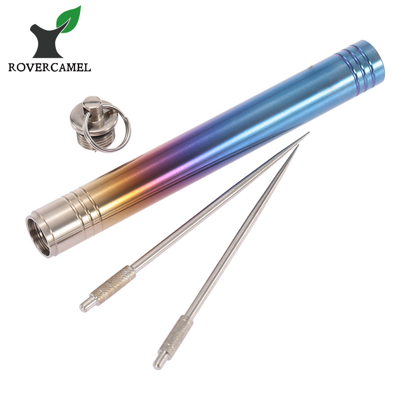 Rover Camel Ultralight Titanium colorful toothpick case with 2pcs Polished toothpick waterproof eco-friendly toothpick storage