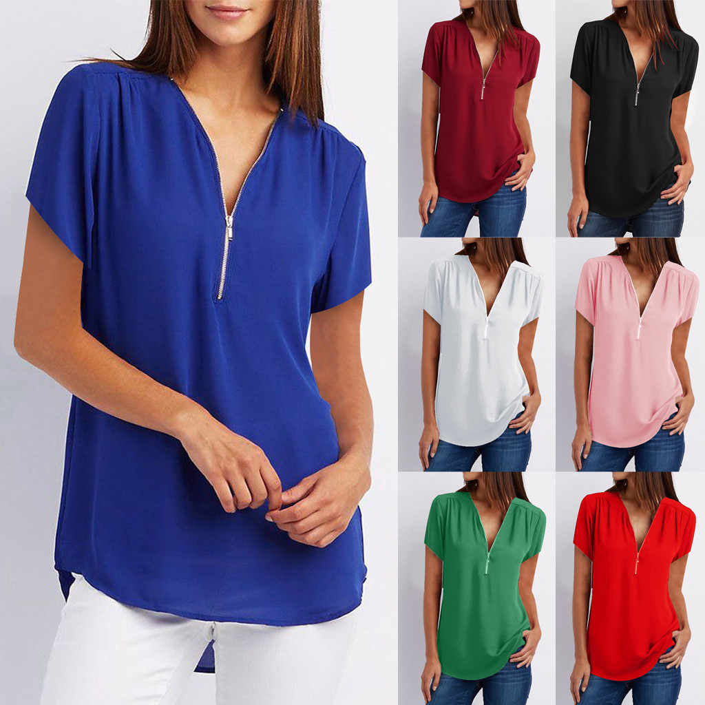 Vrouwen Blouse T-shirt Zomer Womens Casual Tops Shirt Dames V-hals Rits Losse T-shirt Blouse Tee Top T-Shirt Voor vrouwen #39