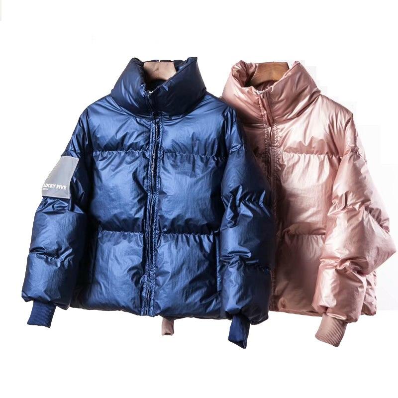 2019 hiver brillant vers le bas Parka femmes vestes grandes tailles hiver chaud bleu épais Parka lâche manteau hiver femmes veste d'extérieur