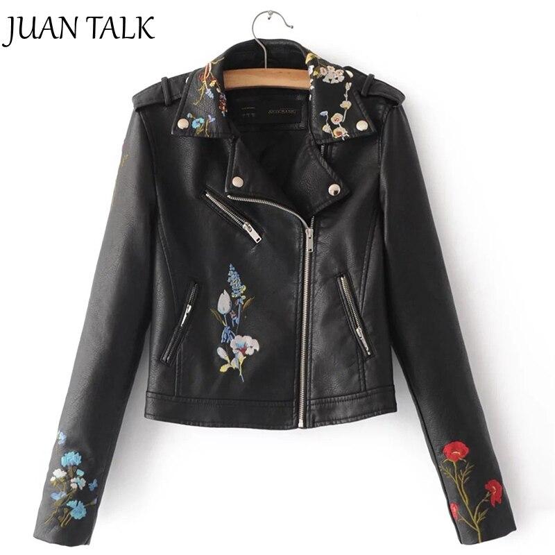 JUANTALK Fashion Women Slim Short Brand PU Jacket Zipper Long Sleeve Flower Embroidery Faux Leather Motorcycle Outwear Coat