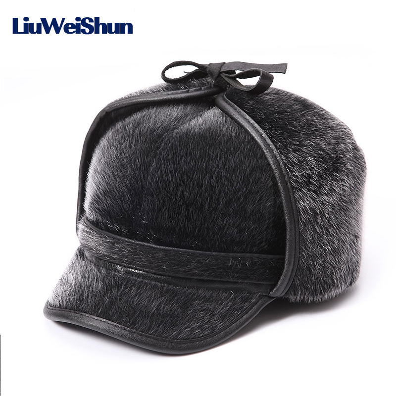 [LWS]Winter Warm Fur Bomber Hats Men High Quality Russian Snow Hat with Earflaps Retro Faux Fur Thicken Outdoor Bonnet for Men