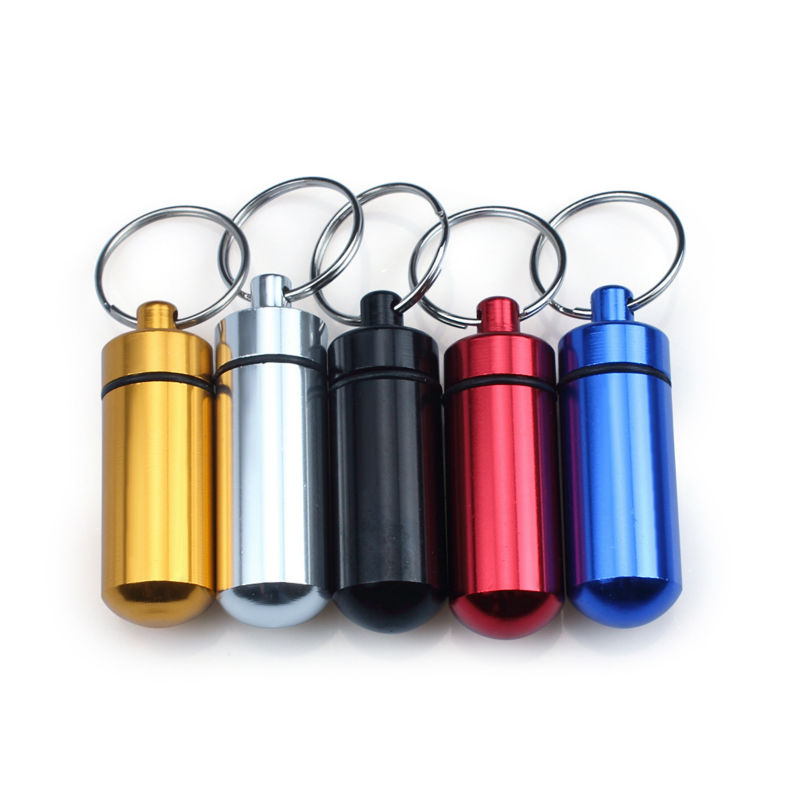 5 X пътуване портативен WaterProof мини алуминиев ключодържател таблетка за съхранение на хапчета за бутилка кутия с ключодържател