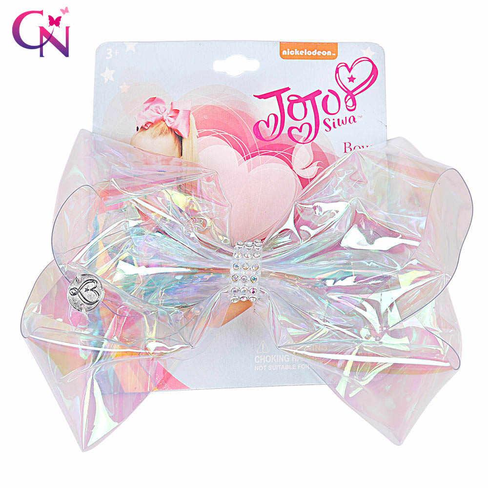 """6 """"Прозрачный Радуга фирма JOJO Bow с зажимом для девочек со стразами и бантом банты на голову Симпатичные Помпона Держатель для детей аксессуары для волос"""