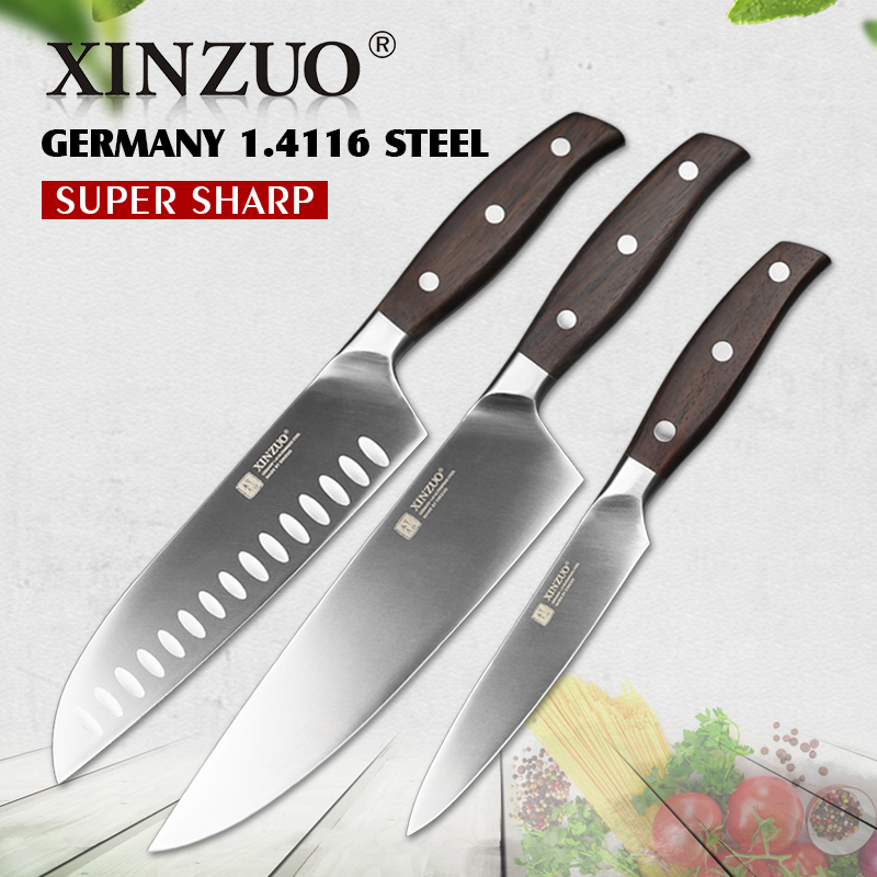XINZUO 3 PCs Kitchen Knife Set Utility Chef Knife High Carbon Germany 1 4116 Stainless Steel