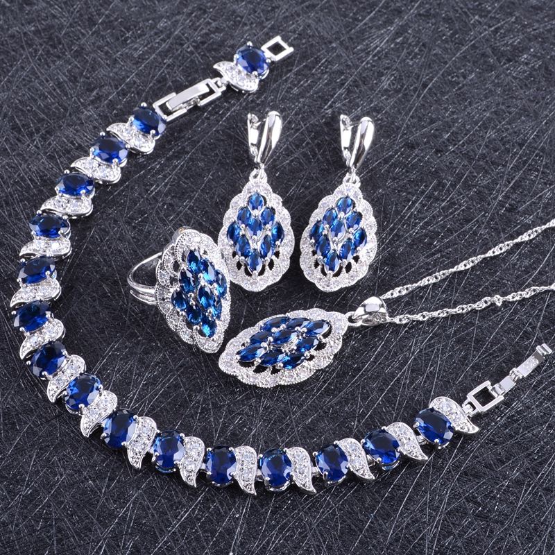 Blue Zircon Costume Silver 925 Jewelry Sets Women Bracelets Earring With Stones Pendant&Necklace Rings Set Jewelery Gift Box orange morganite stylish jewelry set for women white zircon gold color rings earrings necklace pendant bracelets