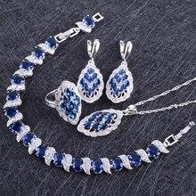 Azul ZIRCON plata traje 925 Juegos de joyería mujeres pulseras pendiente con Piedras colgante y collar Anillos joyería caja de regalo