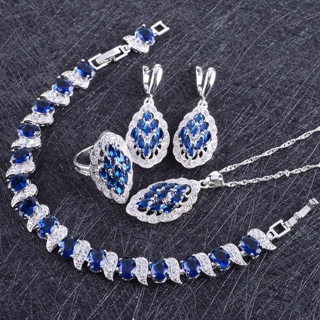 Blue Zircon Costume Silver 925 Jewelry Sets Women Bracelets Earring With Stones