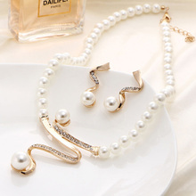 Simulated Pearl Jewelry Sets For Women Wedding Bridal Crystal Rhinestone Necklace Earrings Fashion Set Accessories