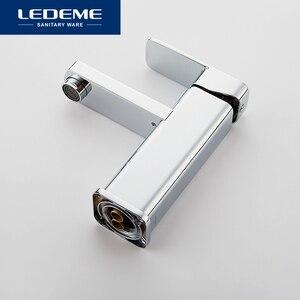 Image 2 - LEDEME robinets de lavabo finition mitigeur, pilier carré en laiton chromé de créateur, eau moderne cascade L1033