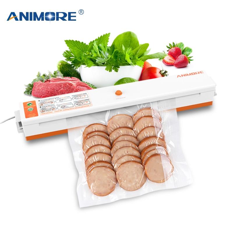 ANIMORE Household Vacuum Food Sealer US-110V/EU-220V Packaging Machine Film Sealer Vacuum Packer Including 10 Pcs Bags VFS-02B