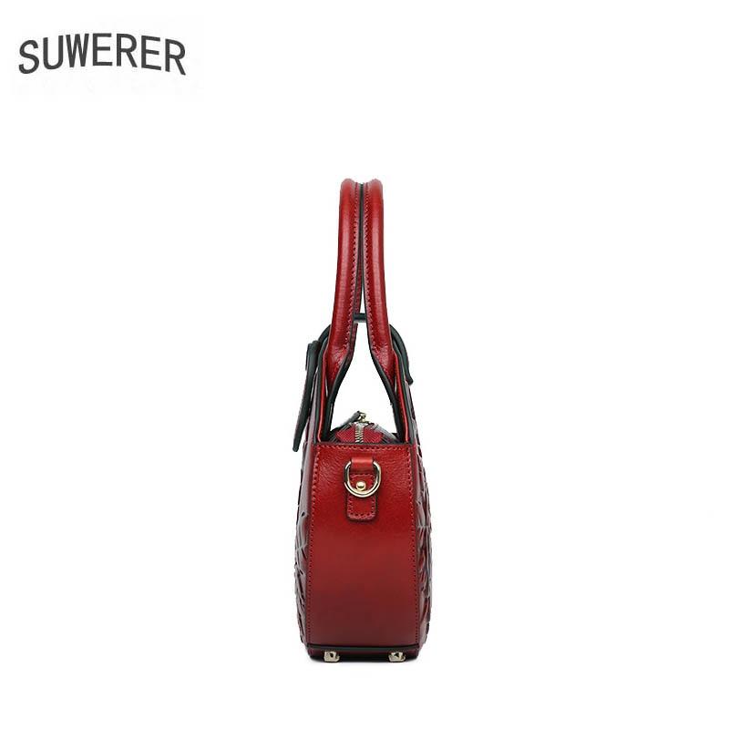 Luxus Designer Frauen Taschen Handtaschen Top Tote red Präge Suwerer green 2019 purple Runde Neue Tasche brown Black Echtes Leder Ewxz0Xq