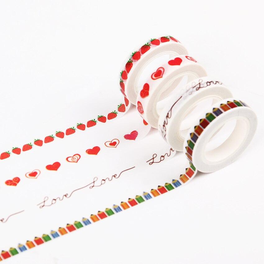 8mm X 10m Kawaii Strawberry Paper Tapes Diy Handicraft Accessories Photo Album Decorative Office Adhesive Tape