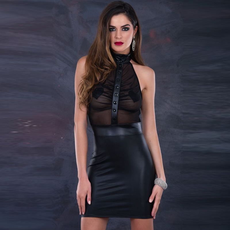 Women Dresses <font><b>2018</b></font> Black Halter Off the Shoulder Vinyl Leather & Mesh Clubwear <font><b>Sexy</b></font> Transparent <font><b>Club</b></font> Bodycon <font><b>Party</b></font> Dresses XXL image